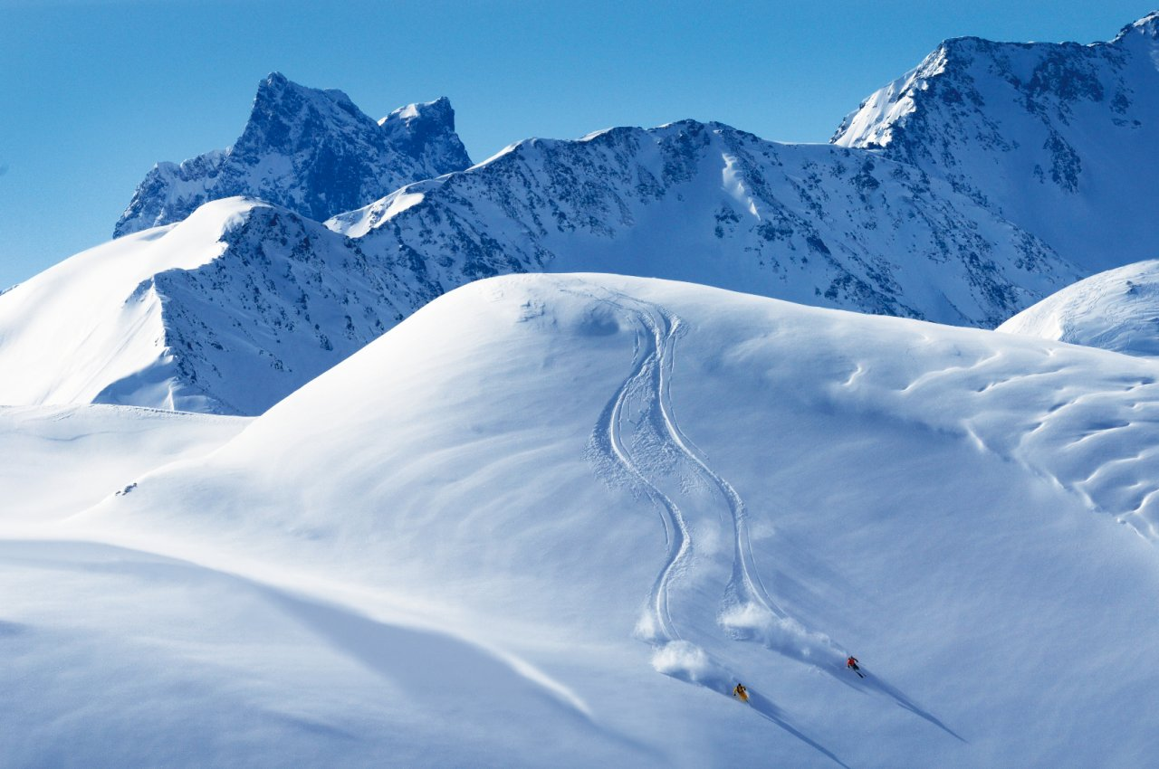 Backcountry skiing in St. Anton am Arlberg, Austria