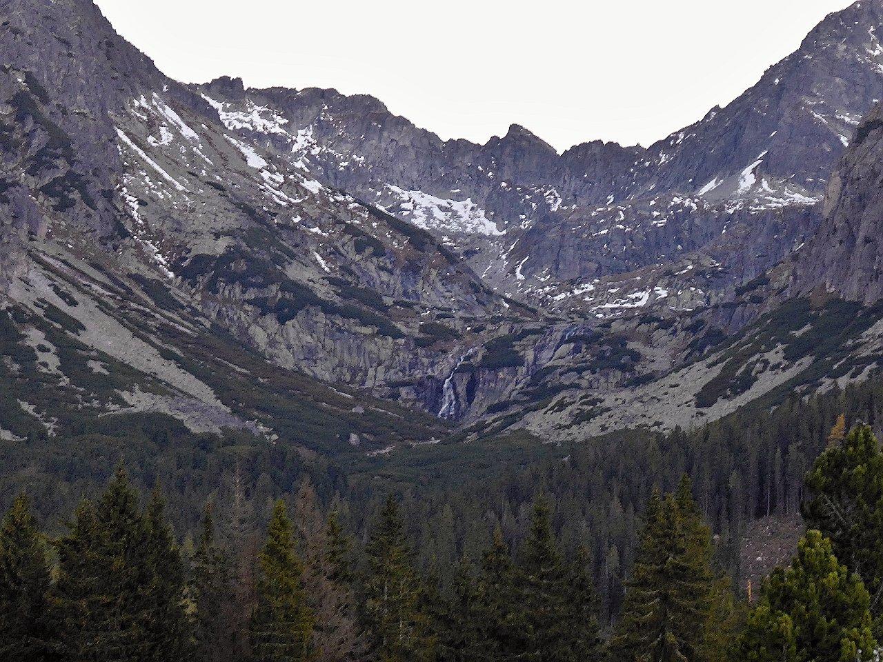 Skok waterfall and surrounding peaks of Tatra Mountains, Slovakia
