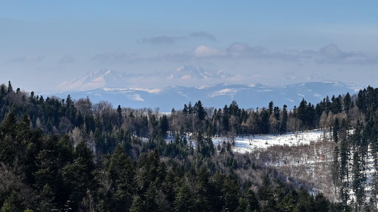 A view of High Tatras from Cergov mountain range, Eastern Slovakia