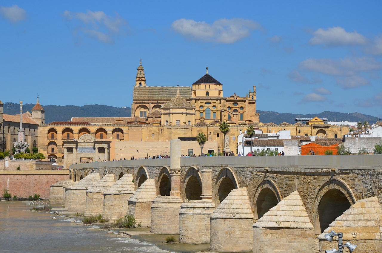 Mosque-Cathedral with Roman bridge in Cordoba, Cities in Spain
