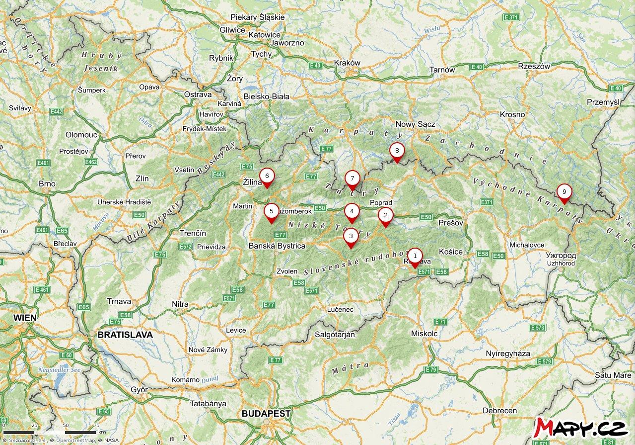 Slovakia National Parks – maps