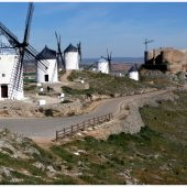 Windmills and old castle in Consuegra, Cities in Spain