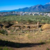 Theater of ancient Sparta with Taygetus in the background, Greece Travel
