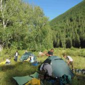 Camping & Making Fire, Altai Mountains, Russia