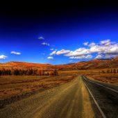 Driving through Chuysky Trakt, Altai Mountains, Russia