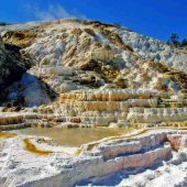 Mammoth Hot Springs, Yellowstone National Park,Wyoming, Montana, and Idaho, Visit in USA