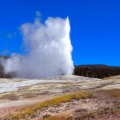 Old Faithful Geyser - Upper Basin, Yellowstone National Park, Wyoming, Montana, and Idaho, Visit in USA